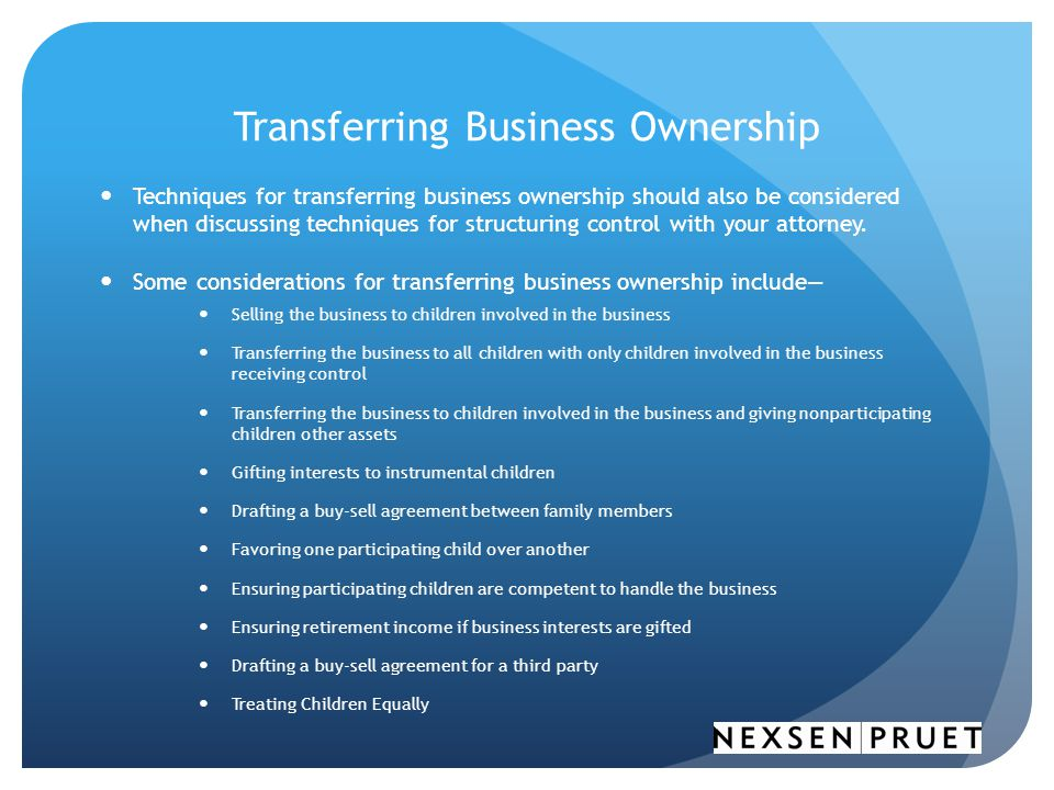 Transferring Business Ownership