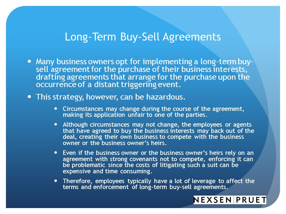 Long-Term Buy-Sell Agreements