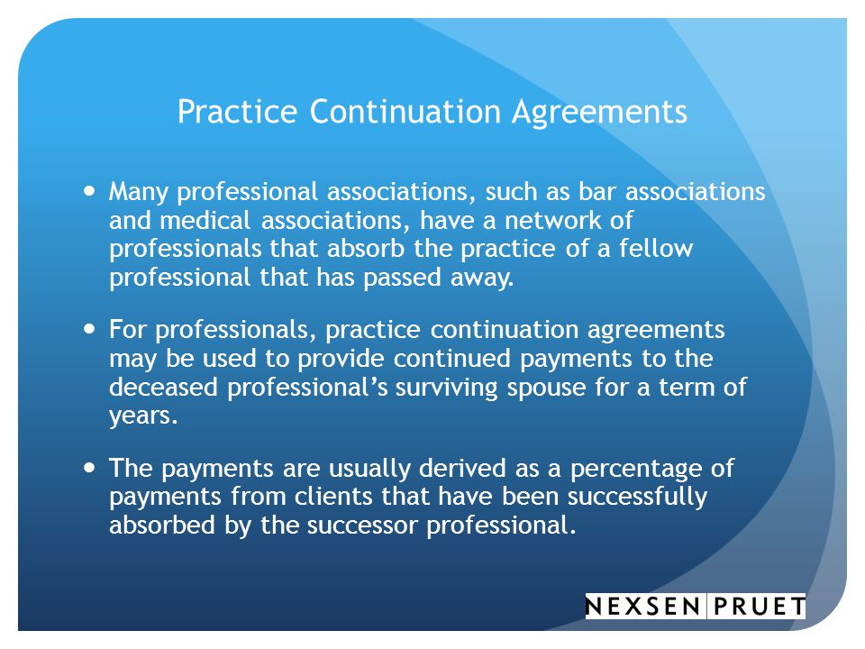 Practice Continuation Agreements