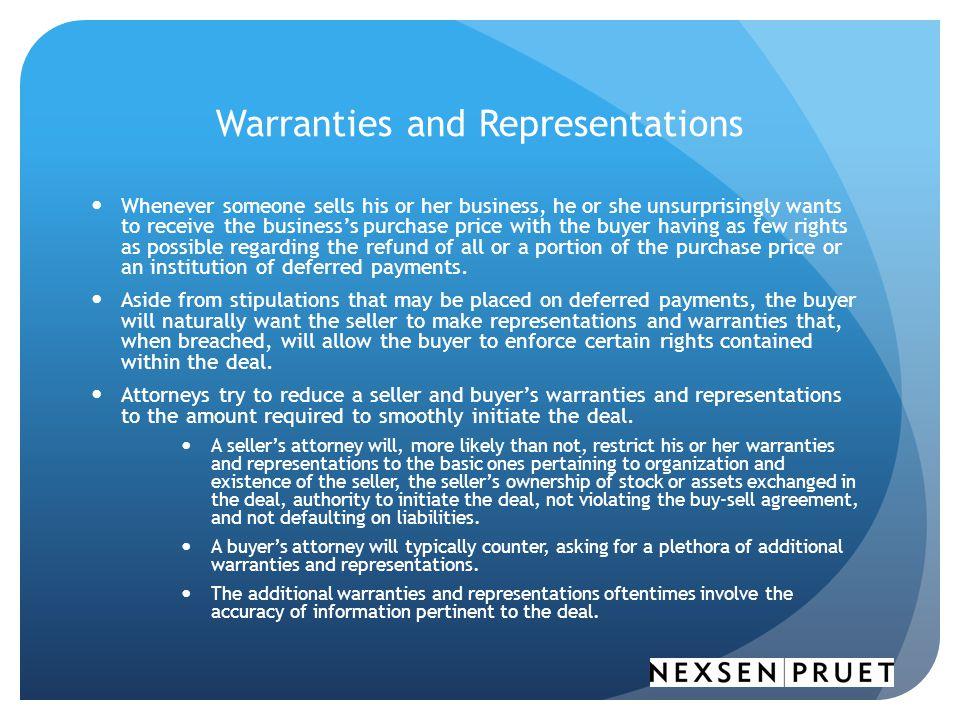 Warranties and Representations