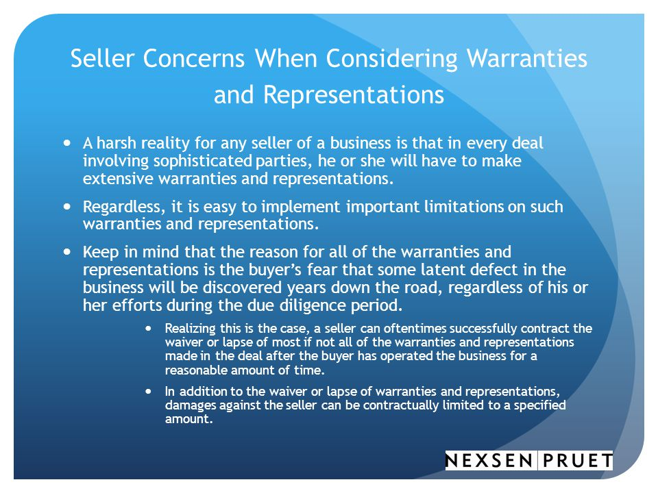 Seller Concerns When Considering Warranties and Representations