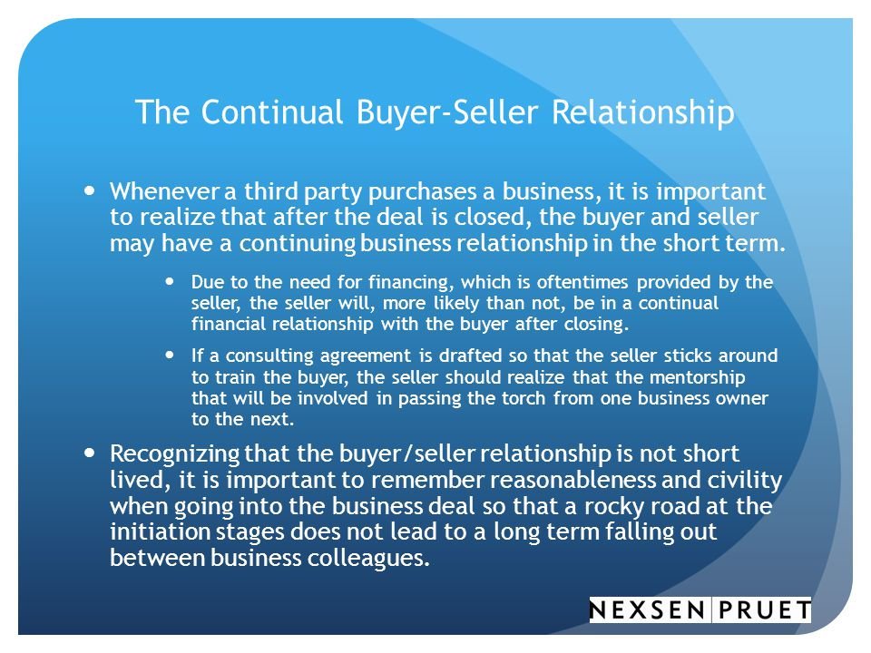The Continual Buyer-Seller Relationship