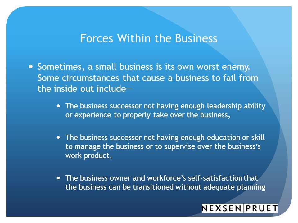 Forces Within the Business