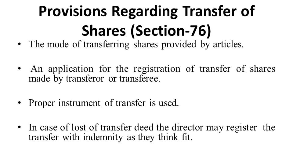 Provisions Regarding Transfer of Shares (Section-76)