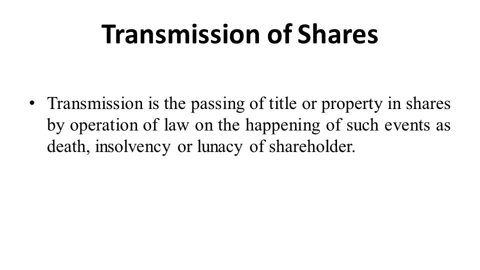Transmission of Shares