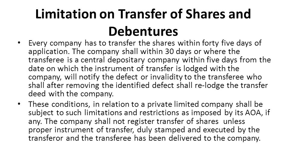 Limitation on Transfer of Shares and Debentures