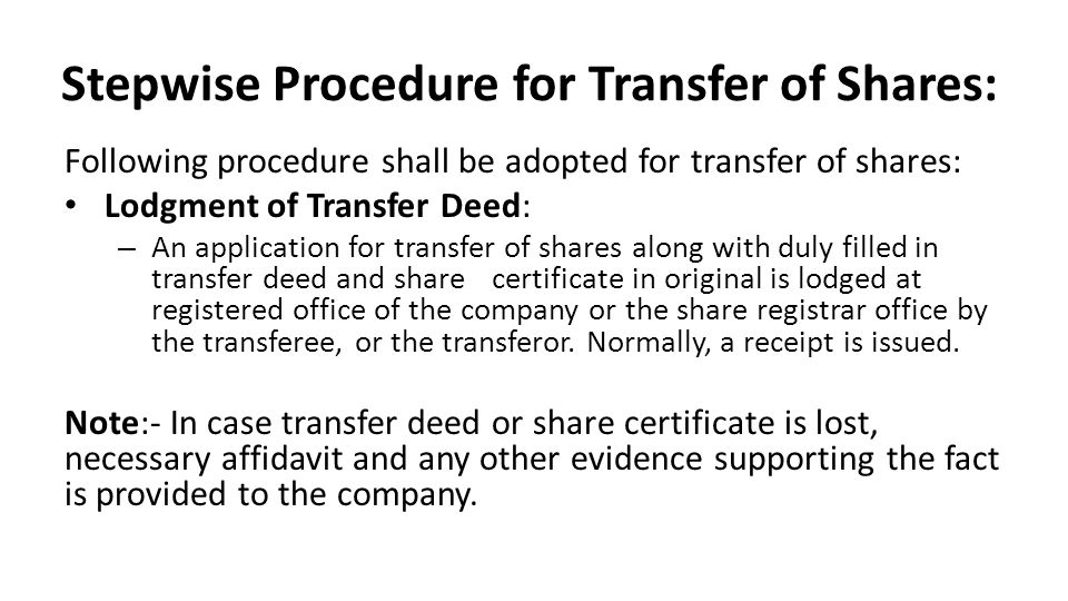 Stepwise Procedure for Transfer of Shares: