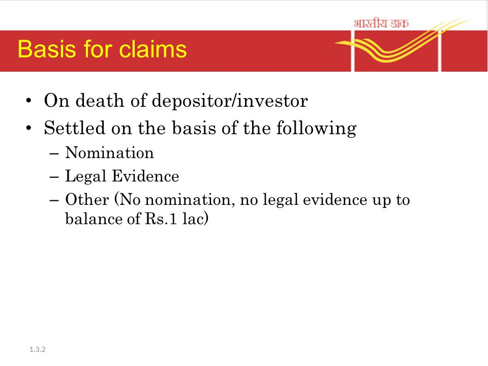 Basis for claims On death of depositor/investor
