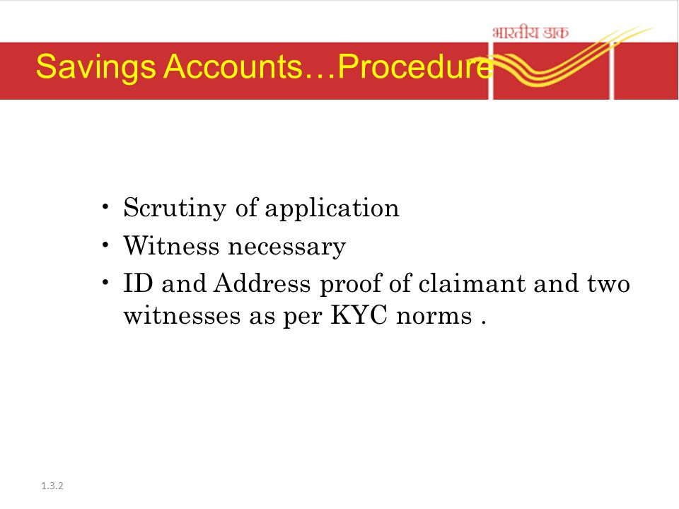 Savings Accounts…Procedure
