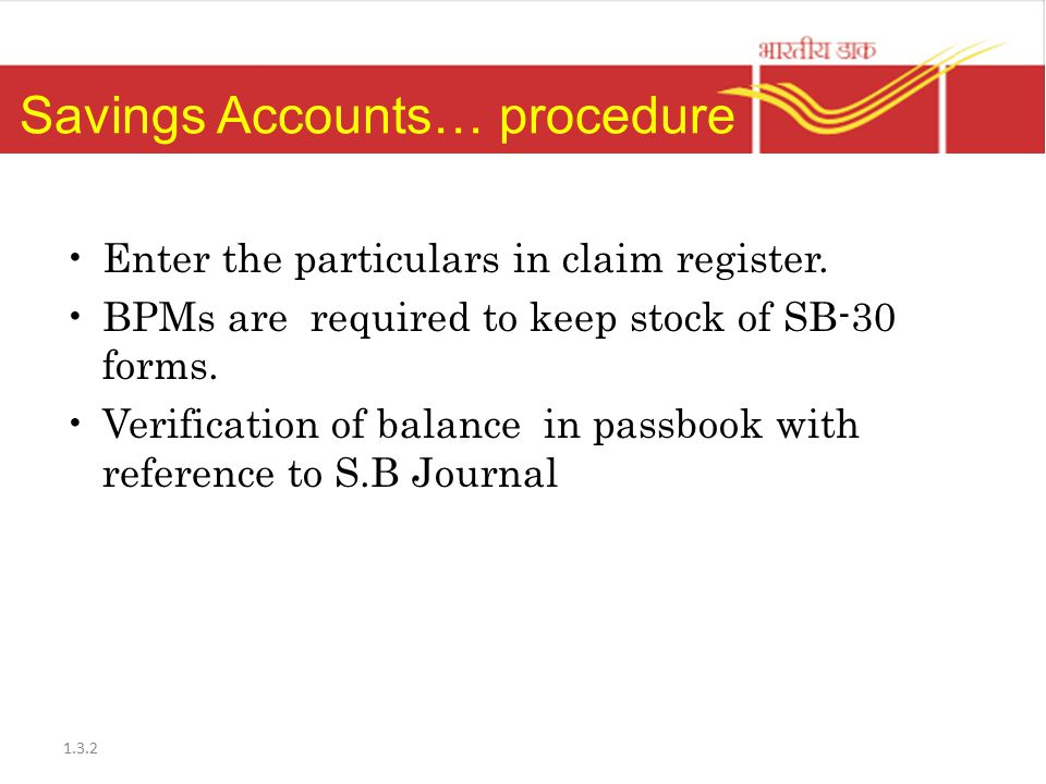 Savings Accounts… procedure