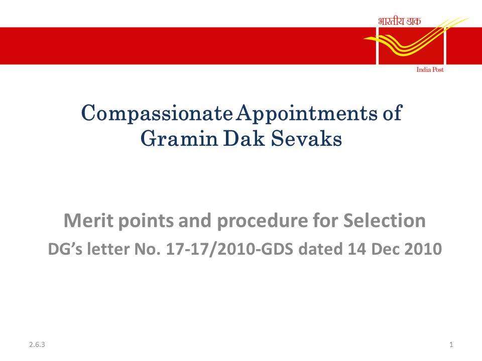 Compassionate Appointments of Gramin Dak Sevaks