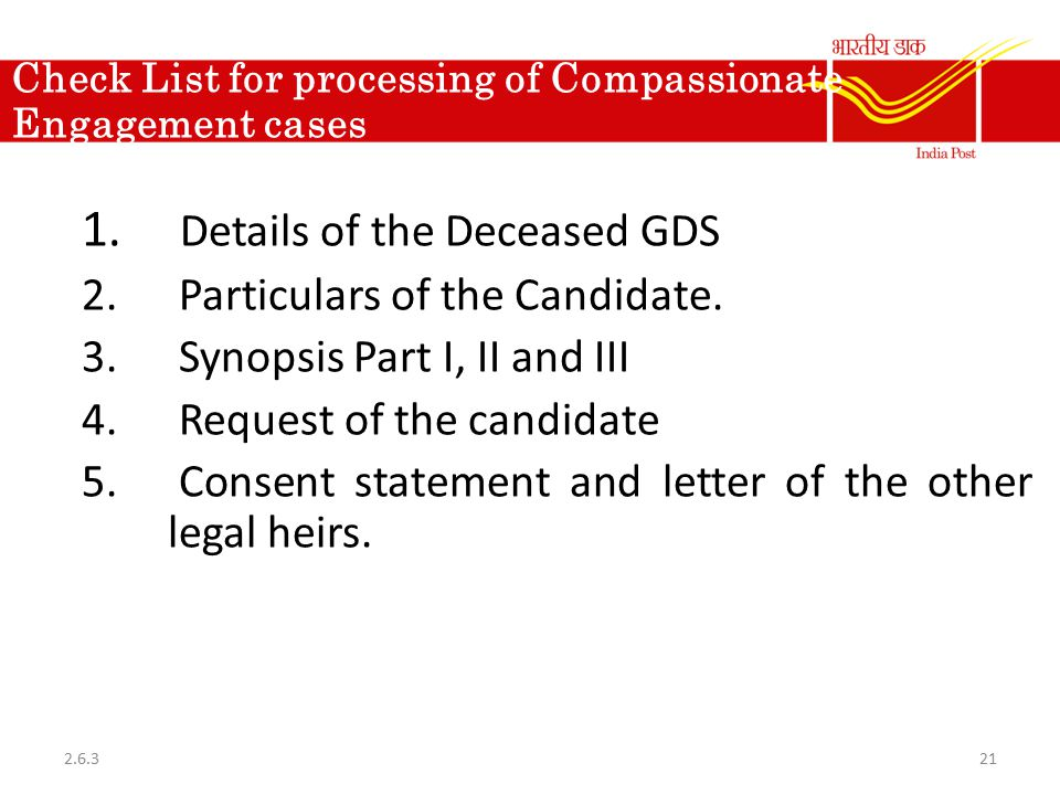 Check List for processing of Compassionate Engagement cases