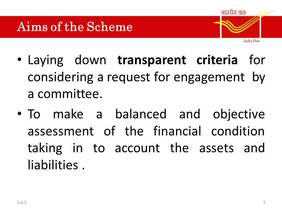 Aims of the Scheme Laying down transparent criteria for considering a request for engagement by a committee.