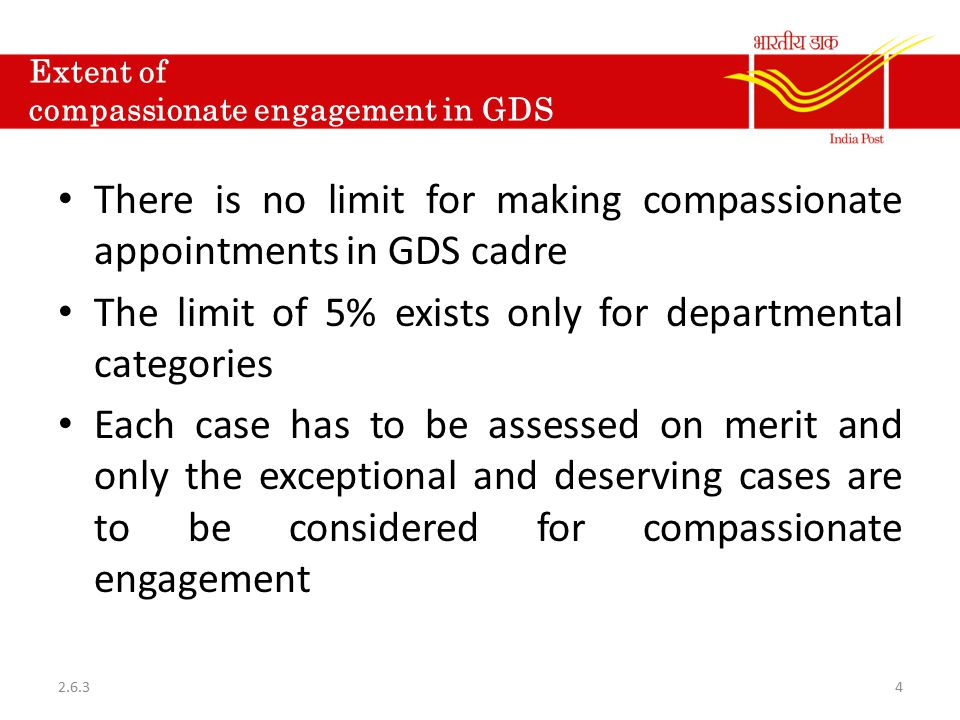 Extent of compassionate engagement in GDS