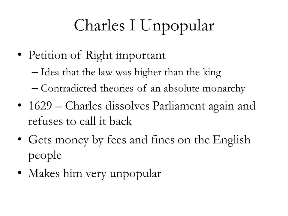 Charles I Unpopular Petition of Right important
