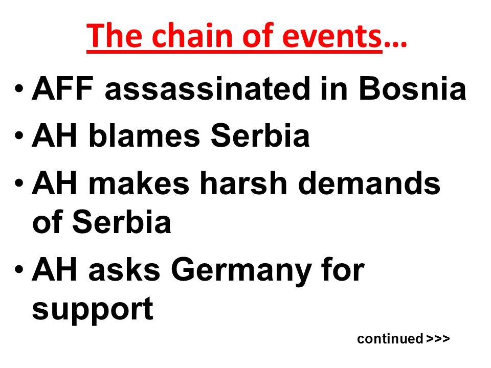 The chain of events… AFF assassinated in Bosnia AH blames Serbia