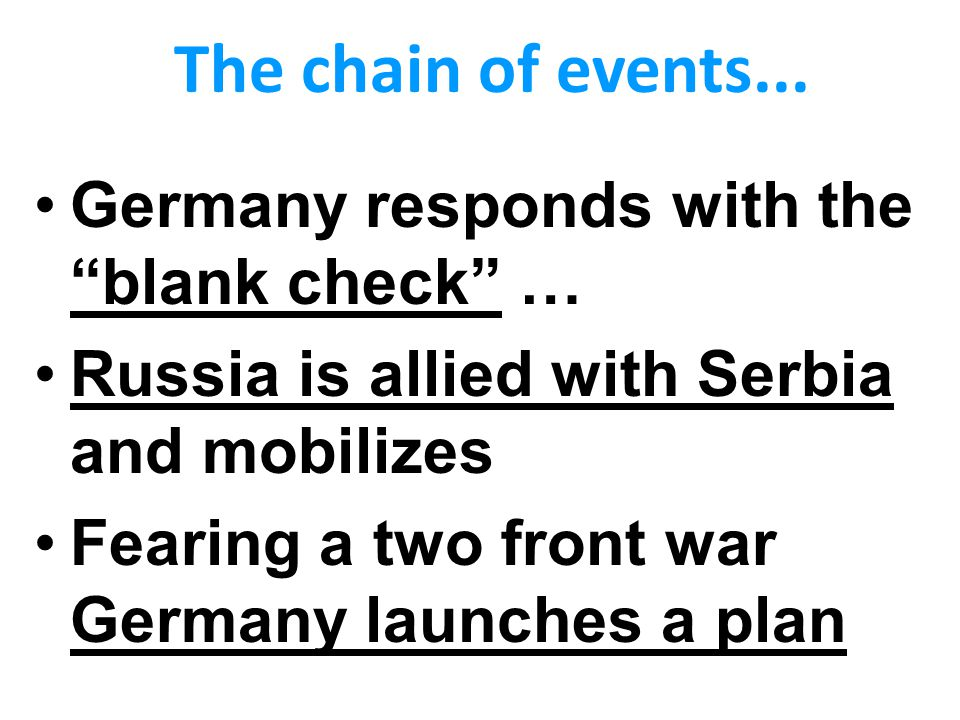 The chain of events... Germany responds with the blank check …
