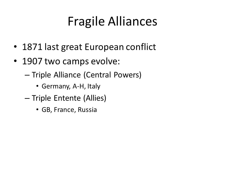 Fragile Alliances 1871 last great European conflict