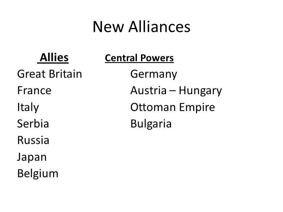 New Alliances Allies Central Powers Great Britain Germany