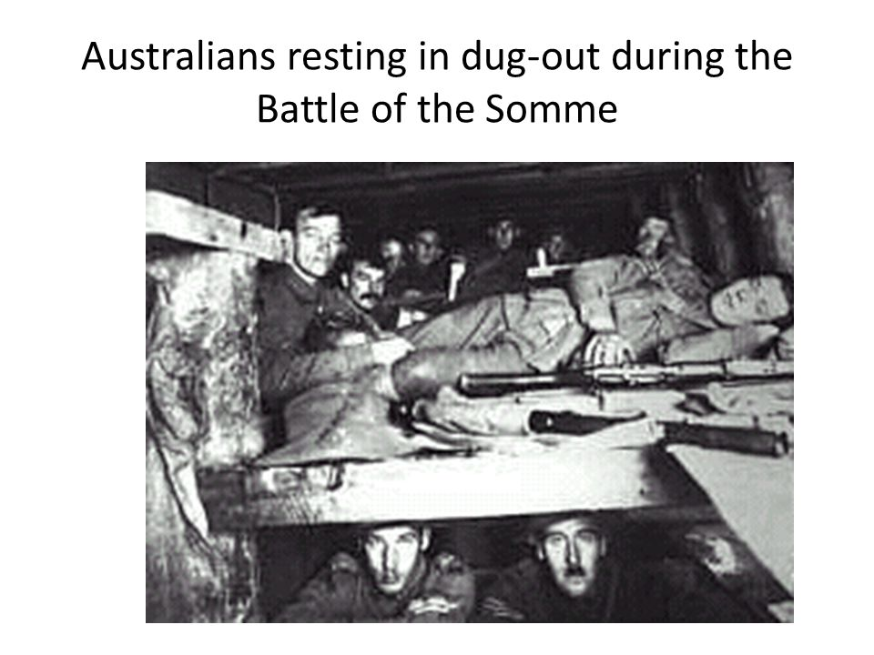 Australians resting in dug-out during the Battle of the Somme