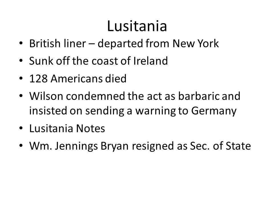 Lusitania British liner – departed from New York
