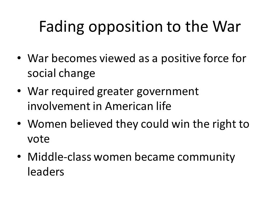 Fading opposition to the War