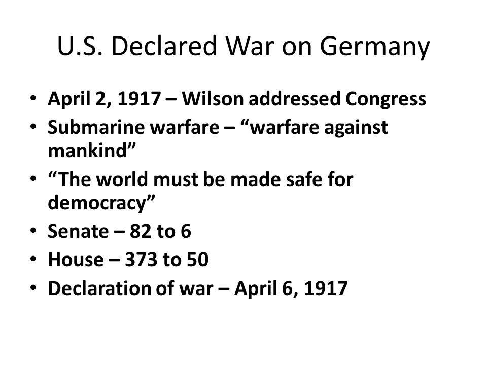U.S. Declared War on Germany