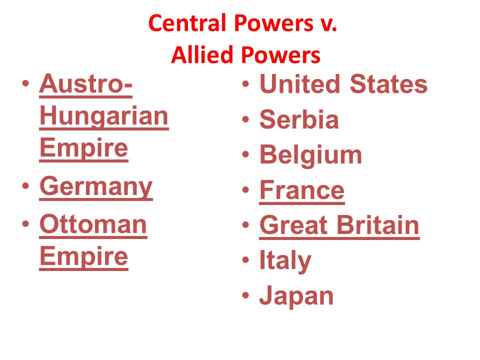 Central Powers v. Allied Powers