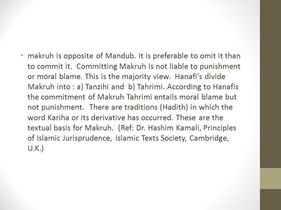 makruh is opposite of Mandub