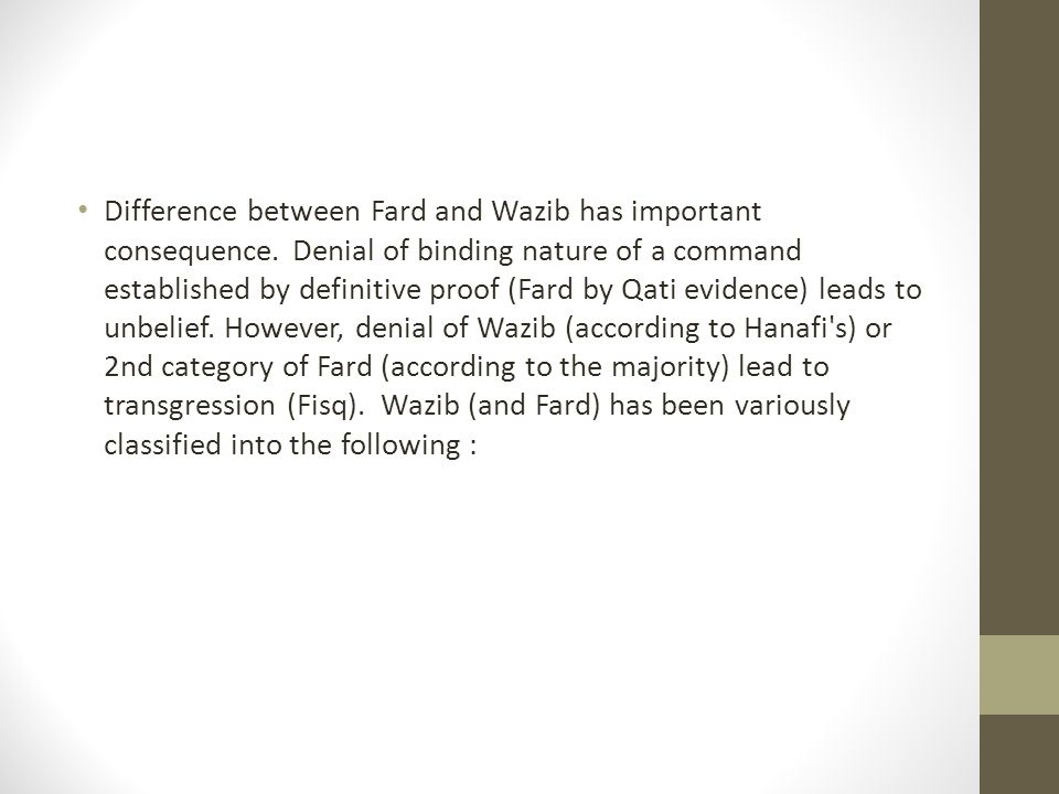 Difference between Fard and Wazib has important consequence