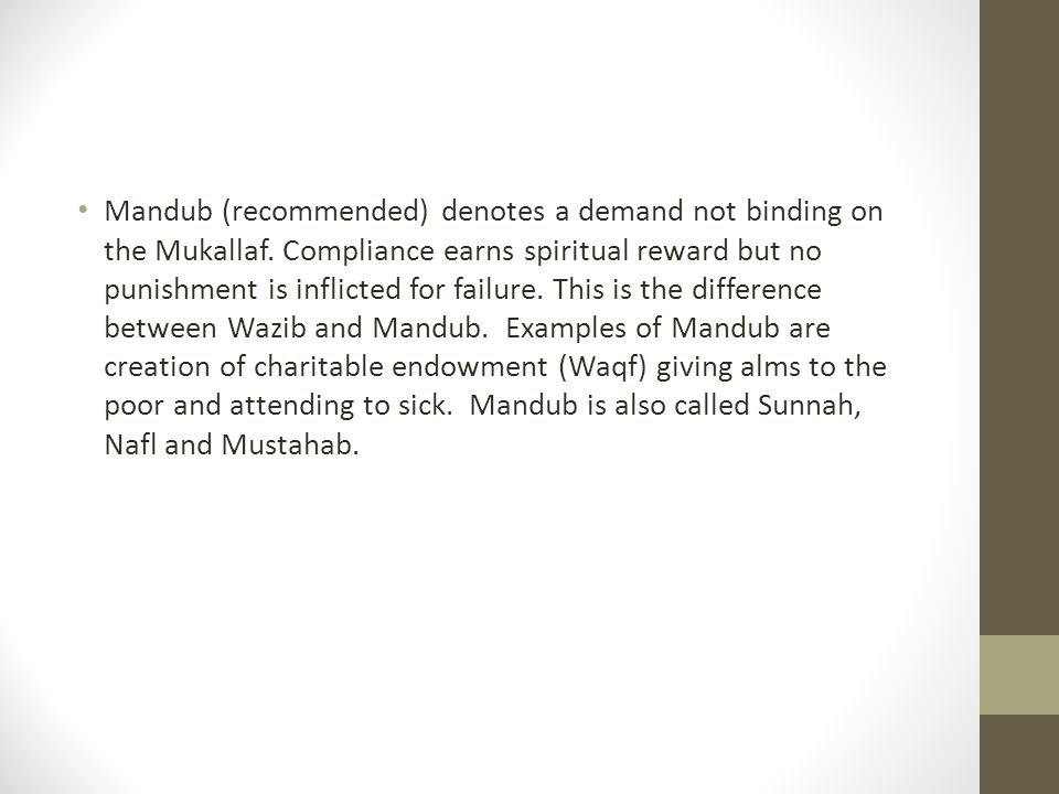 Mandub (recommended) denotes a demand not binding on the Mukallaf