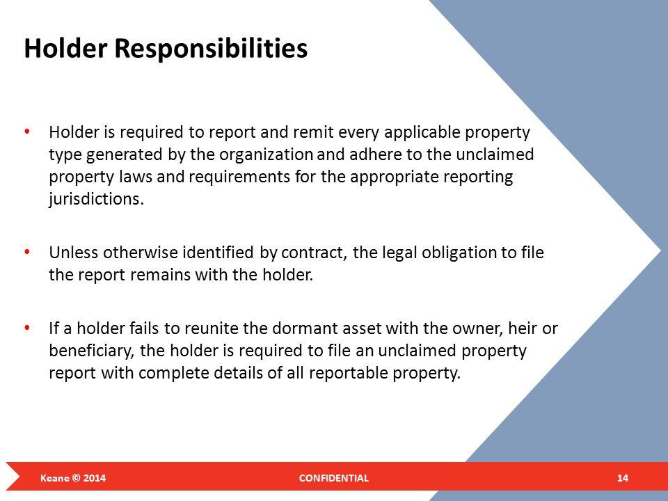 Holder Responsibilities