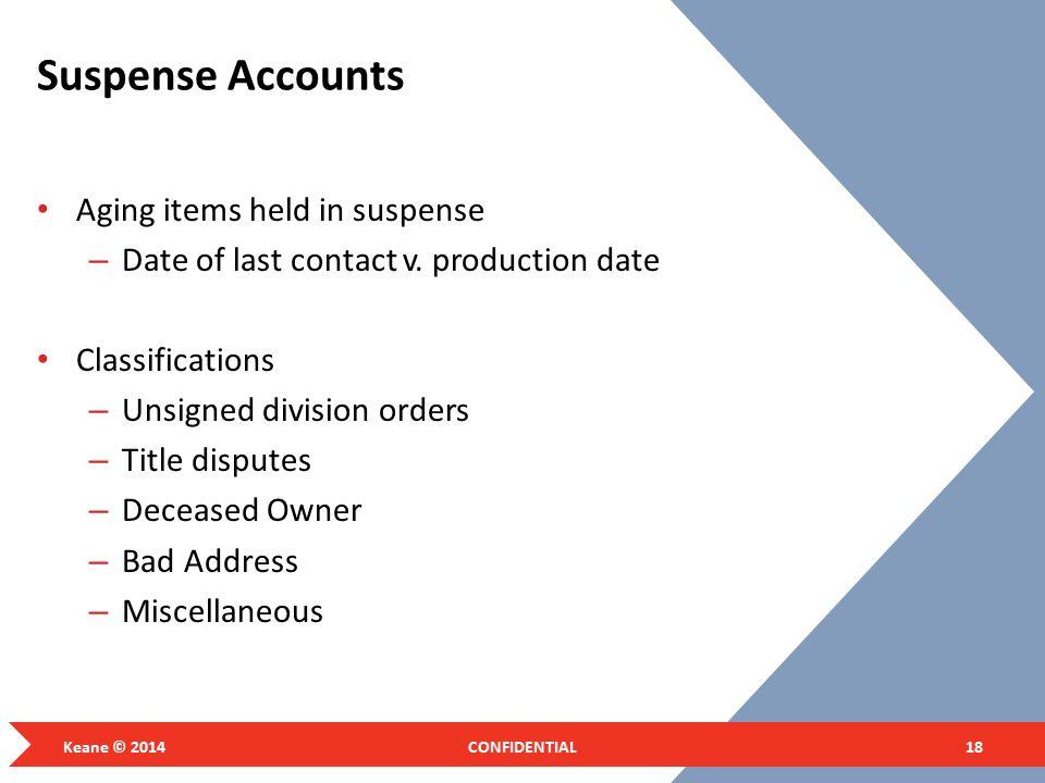 Suspense Accounts Aging items held in suspense
