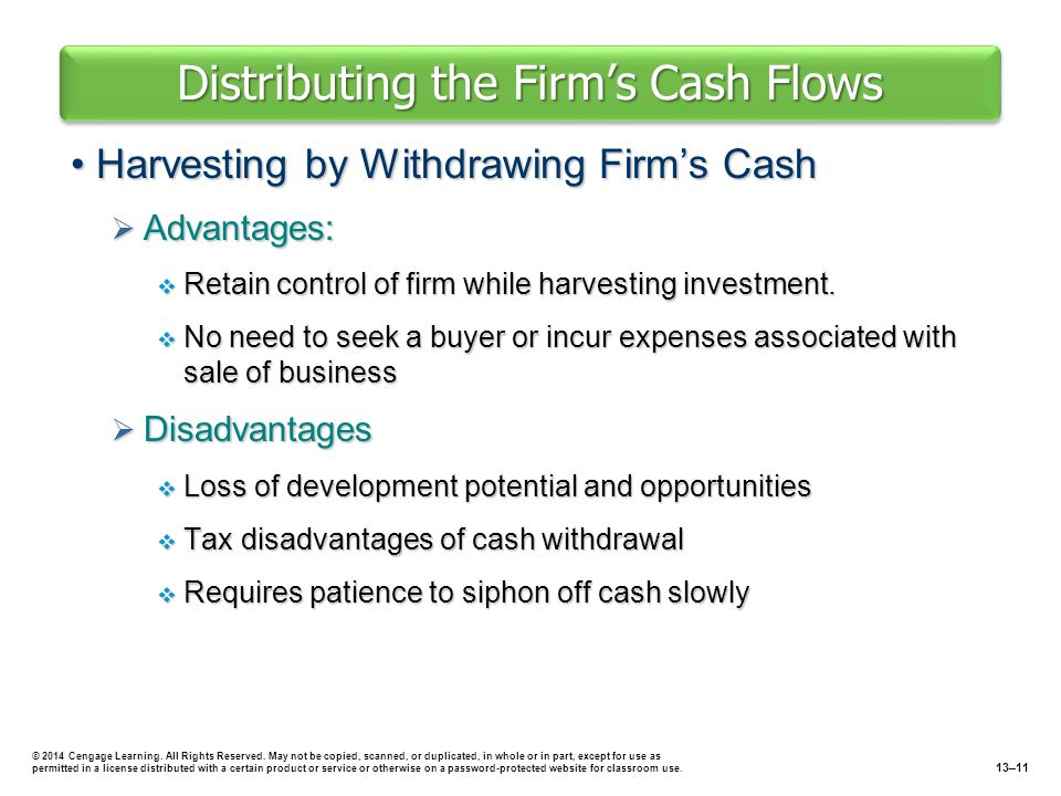 Distributing the Firm's Cash Flows