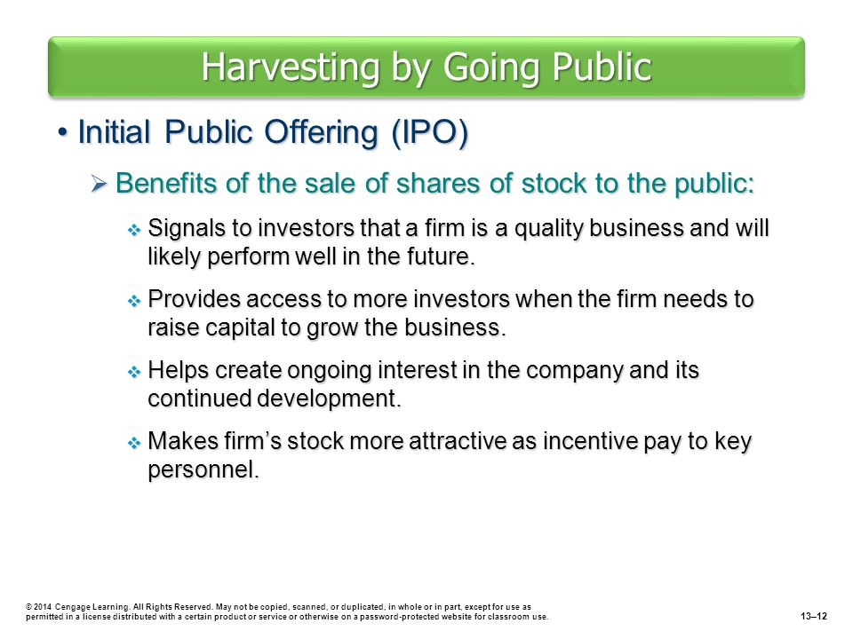 Harvesting by Going Public