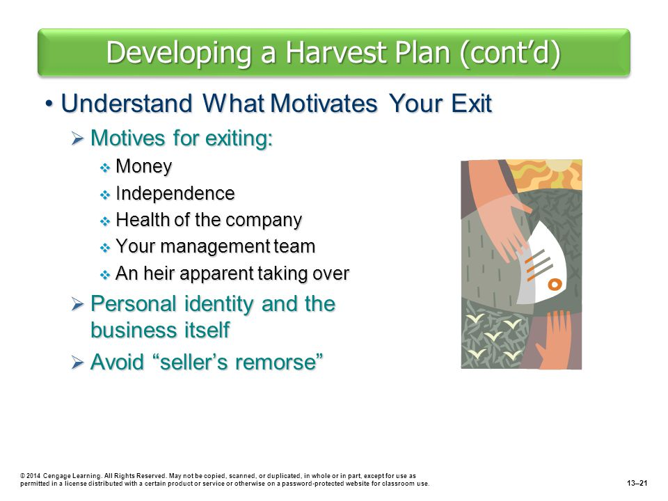 Developing a Harvest Plan (cont'd)
