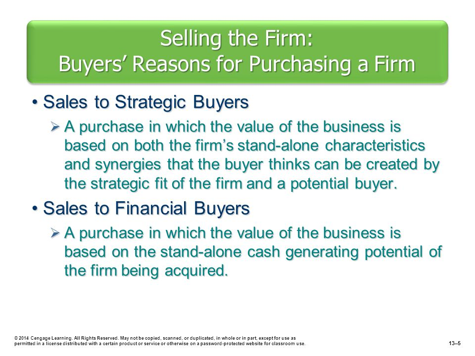 Selling the Firm: Buyers' Reasons for Purchasing a Firm