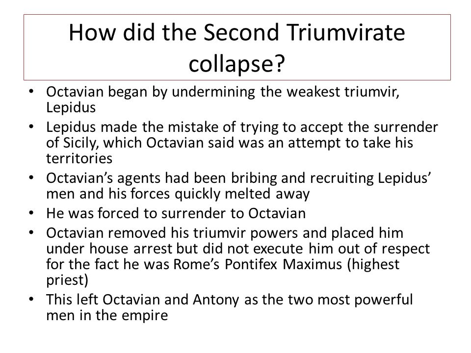 How did the Second Triumvirate collapse