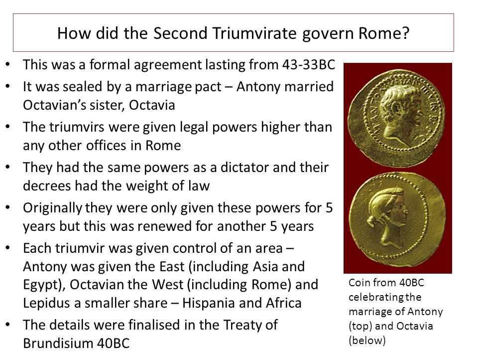 How did the Second Triumvirate govern Rome