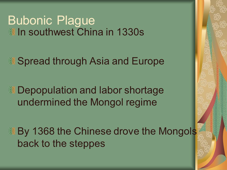 Bubonic Plague In southwest China in 1330s