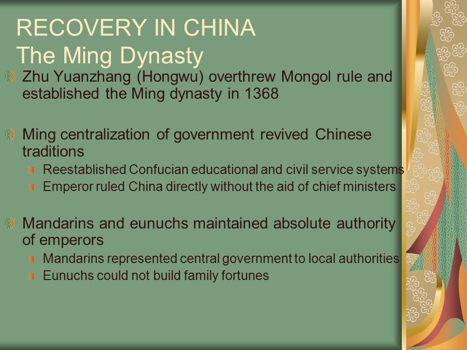 RECOVERY IN CHINA The Ming Dynasty