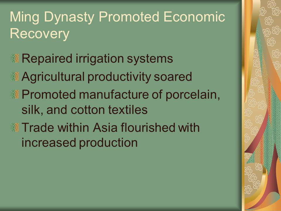 Ming Dynasty Promoted Economic Recovery