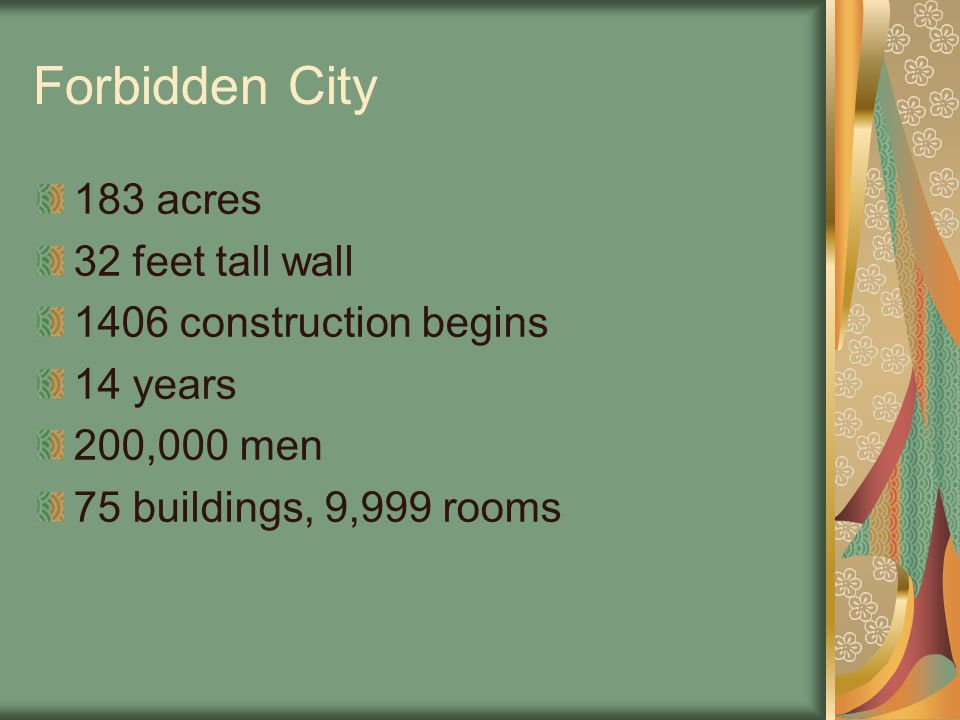 Forbidden City 183 acres 32 feet tall wall 1406 construction begins