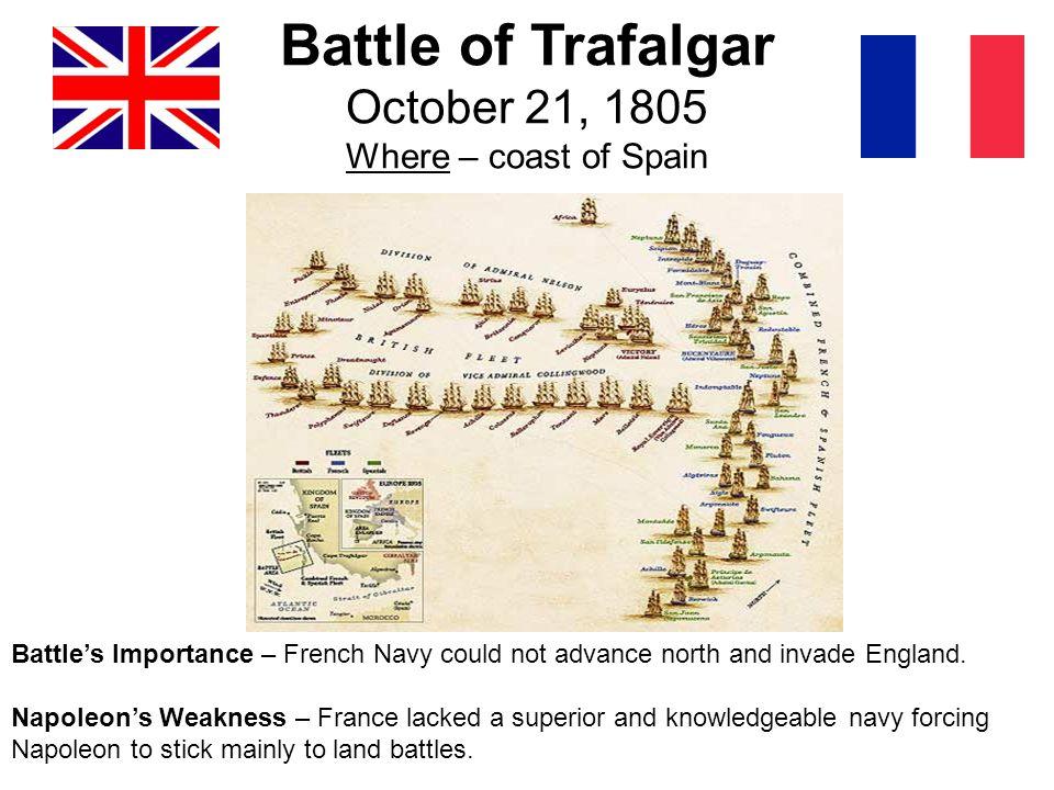 Battle of Trafalgar October 21, 1805 Where – coast of Spain