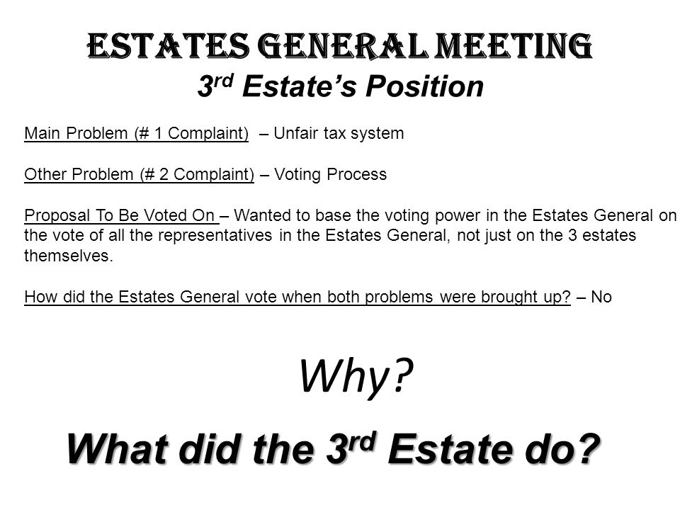 Estates General Meeting 3rd Estate's Position