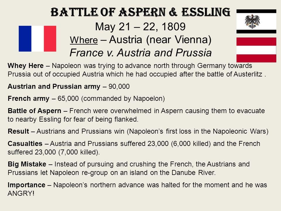 Battle of Aspern & Essling May 21 – 22, 1809 Where – Austria (near Vienna) France v. Austria and Prussia