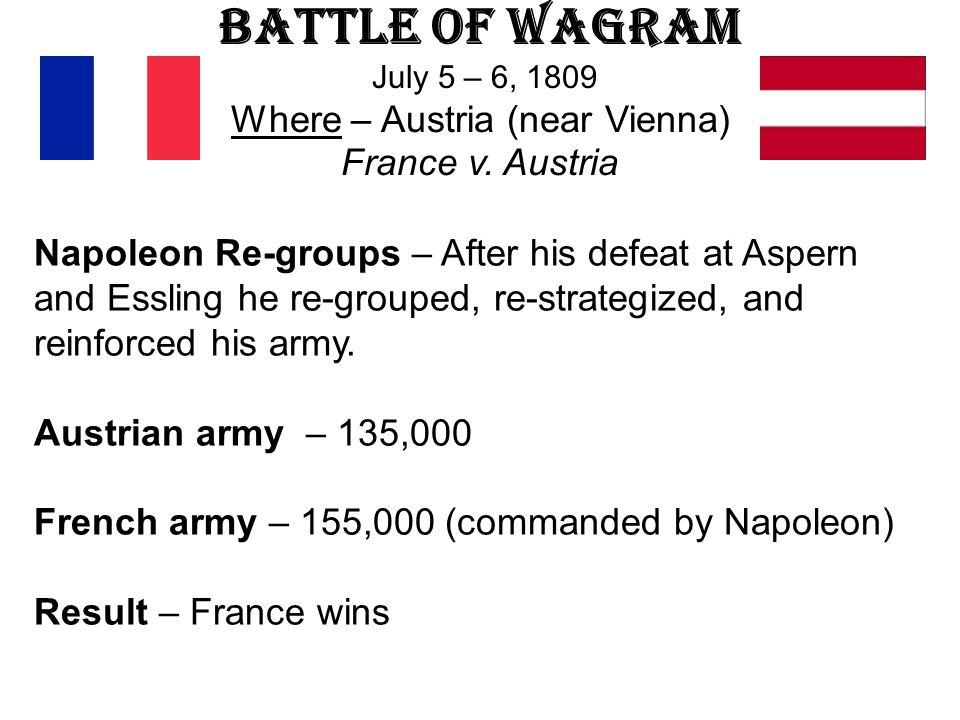 Battle of Wagram July 5 – 6, 1809 Where – Austria (near Vienna) France v. Austria
