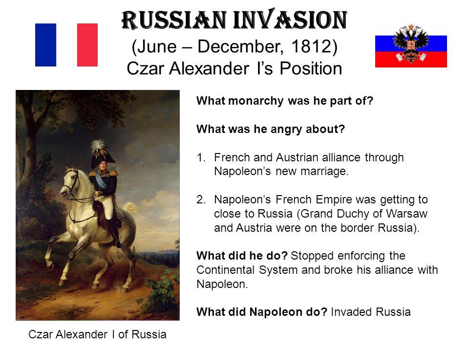 Russian Invasion (June – December, 1812) Czar Alexander I's Position