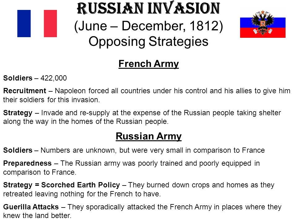 Russian Invasion (June – December, 1812) Opposing Strategies