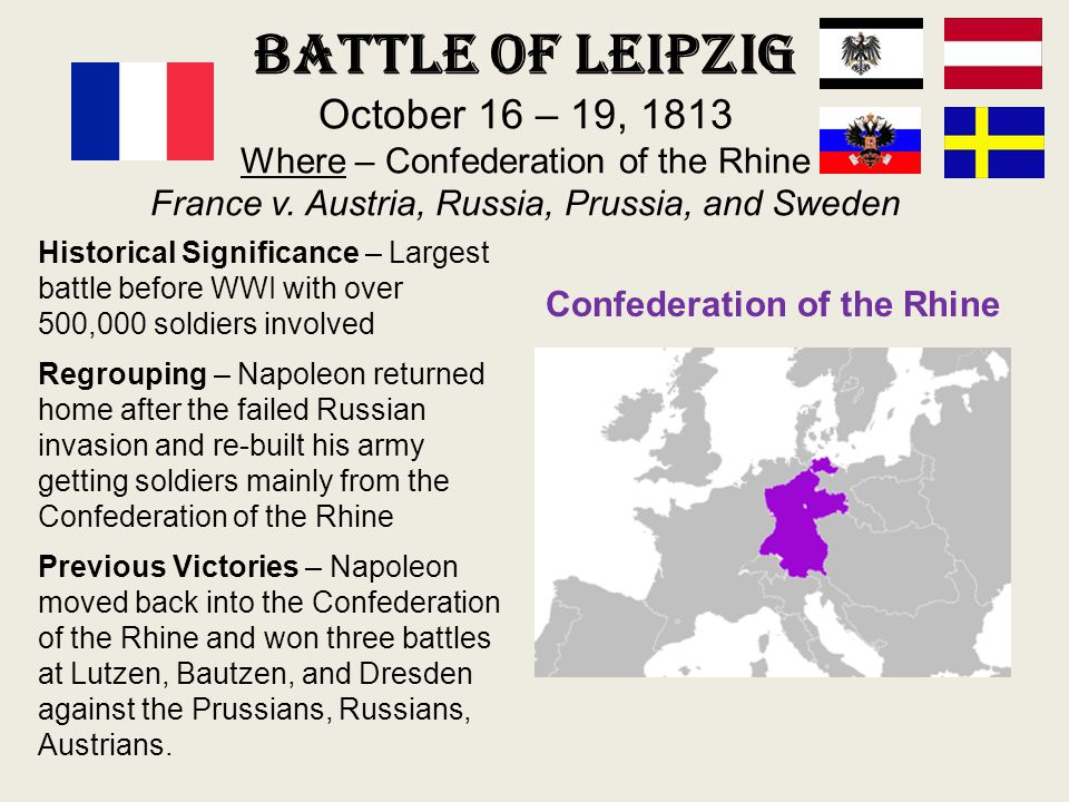 Battle of Leipzig October 16 – 19, 1813 Where – Confederation of the Rhine France v. Austria, Russia, Prussia, and Sweden